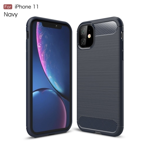 TPU Carbon Fiber Phone Protective Case Non-slip Anti Fingerprints Anti Scratch Phone Case Protection Shell Compatible with iPhone 11