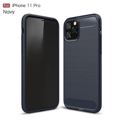 TPU Custodia protettiva per telefono in fibra di carbonio antiscivolo Anti impronte digitali Custodia antiscivolo Custodia protettiva per telefono cellulare Compatibile con iPhone 11 Pro