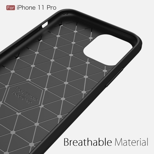 TPU Carbon Fiber Phone Protective Case Non-slip Anti Fingerprints Anti Scratch Phone Case Protection Shell Compatible with iPhone 11 Pro