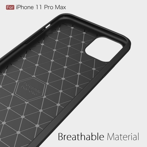 TPU Carbon Fiber Phone Protective Case Non-slip Anti Fingerprints Anti Scratch Phone Case Protection Shell Compatible with iPhone 11 Pro Max