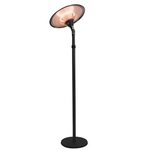 Chauffage d'extérieur parasol chauffant électrique sur pied hauteur réglable max 205cm et tête inclinable - 2100W -Noir