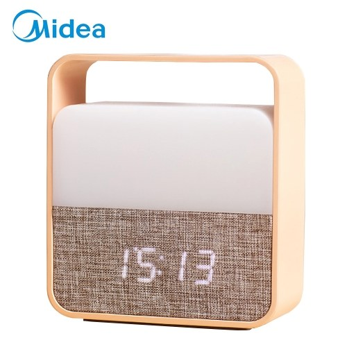 Midea Alarm Clock with Nightlight Rechargeable Small Table Lamp Led Clock with Dimmer for Kids Living Room Bedroom Outdoor