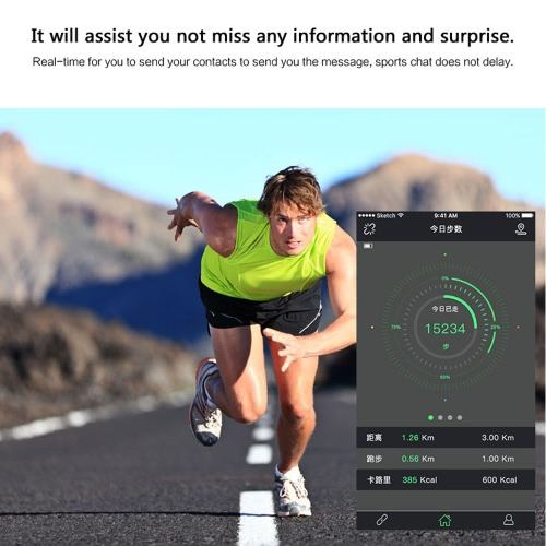 """C3 Heart Rate Smart BT Sport Watch Wristband Bracelet 0.69"""" OLED Call Notification Pedometer Alarm Anti-lost Sleep Monitor Sport Modes for iPhone 6 6S 6 Plus 6S Plus 7 Plus Samsung S6 S7 edge Android 4.4 iOS 7.0 or above PB0007RO"""
