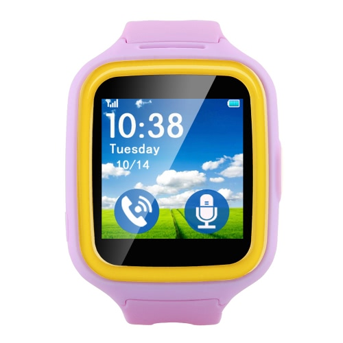 Q5S Tracker Watch Phone 1.44inch TFT Display Full 2.5D Capacitive Touch Screen MTK6261 2G GSM Kids Smartwatch ROM 128MB RAM 32MB 320mAh Battery Remote Camera SOS Anti-lost Monitor Two Way Talk GPS LBS Tracking Wristwatch for Children