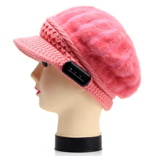 Quente Fone de Cabeça Inverno Bluetooth Chapéu de Música para Mulheres Tricô de Lã Resposta Telefone Coelho Cabelo Tampão Repicado Dia dos Namorados Presente Amante