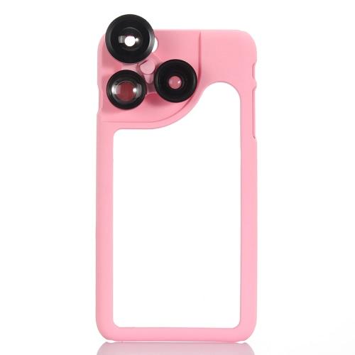 KKmoon 4-em-1 telefone foto lente 180° Fisheye 120° ângulo de largura 2 X Telephoto 2 X Macro definido com caso para iPhone 6 6S