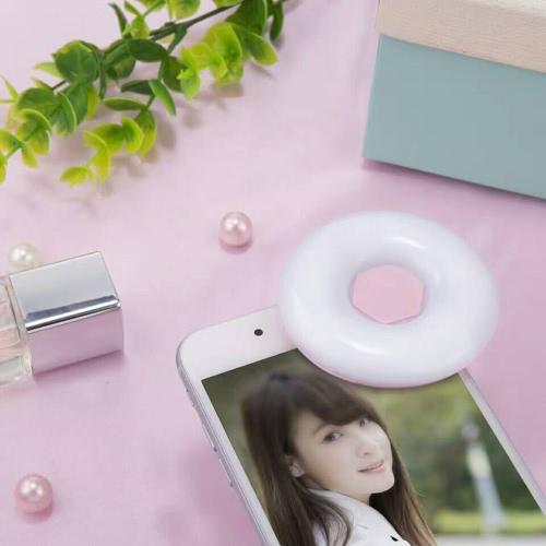 Mini lâmpada LED portátil circular Câmera ajustável Flash de preenchimento recarregável Selfie Light para Smart Phones Tablets