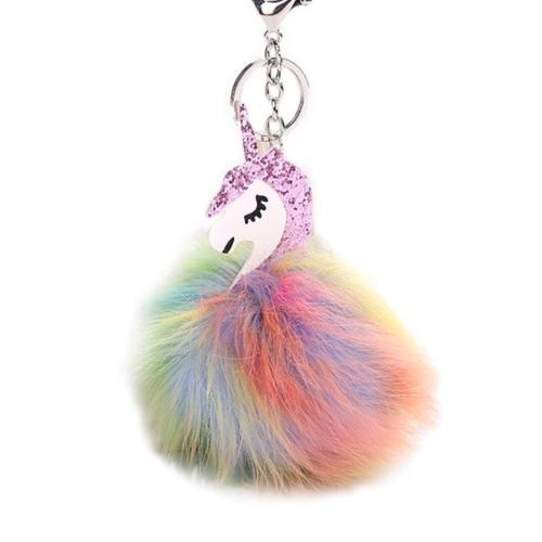 Moda Bola de pele colorida Raposa Chaveiro Saco de pelúcia Porta do carro Chaveiro Anel Pendente decorativo Presente Prata