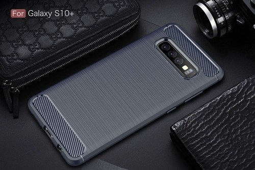 Phone Case Carbon Fiber Wire Drawing TPU Phone Protection Cover Simple Lightweight Mobile Phone Protector for Samsung Galaxy S10 Plus PAP0402B-10P