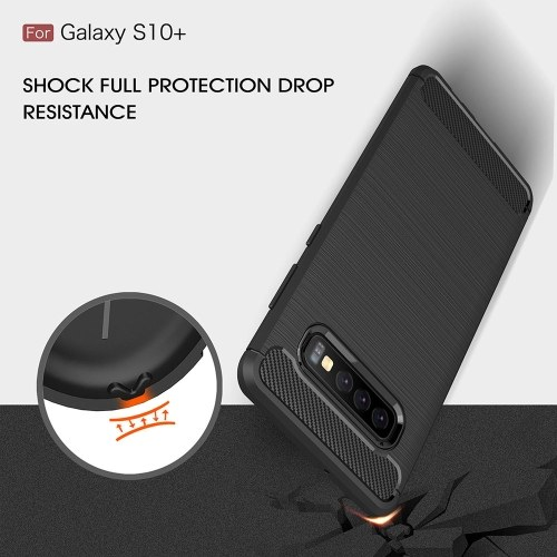 Phone Case Carbon Fiber Wire Drawing TPU Phone Protection Cover Simple Lightweight Mobile Phone Protector for Samsung Galaxy S10 Plus PAP0402BL-10P