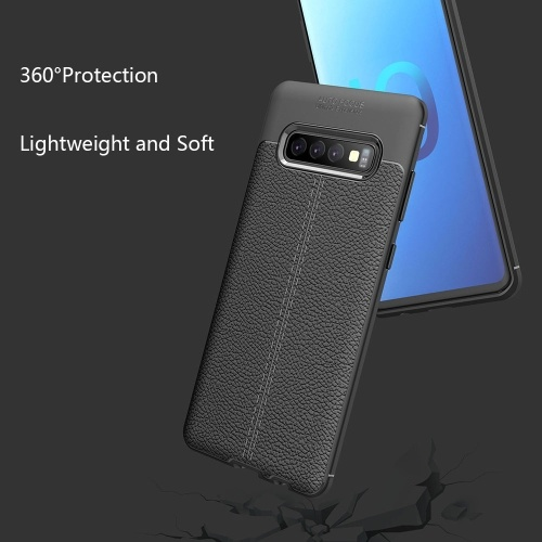Phone Case Leather TPU Phone Protection Cover Simple Lightweight Mobile Phone Protector for Samsung Galaxy S10 Plus PAP0406BL-10P