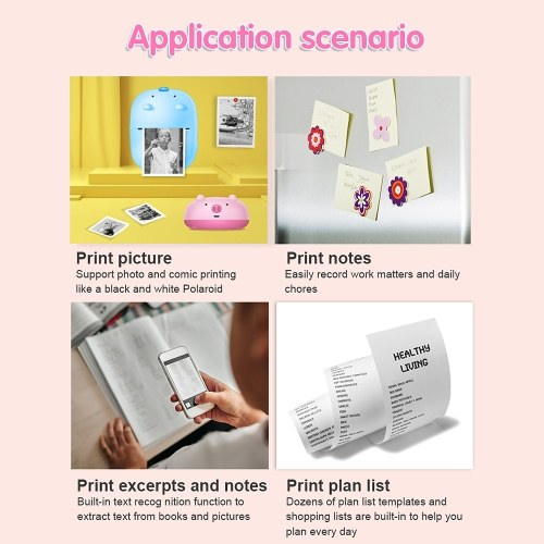 Global Version Mini Thermal Printer BT 1000mAh Battery Inkless Printing Photo APP Text Recognition Pocket Printer USB Interface Compatible With Andriod iOS for Students, TOMTOP  - buy with discount