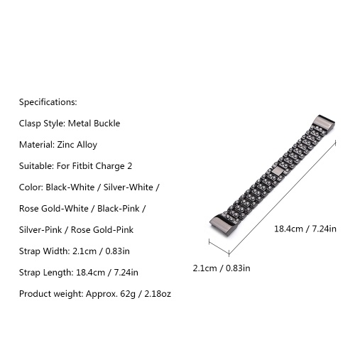 High Quality Watch Band Zinc Alloy Women Fashion Simple Style Wrist Strap for Fitbit Charge 2 фото