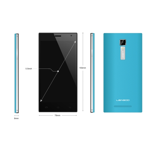 Leagoo Lead 1 Quad Core MTK6582 Android 4.4 5.5'' IPS Screen Smartphone 1G RAM 8G ROM 13MP Camera Blue