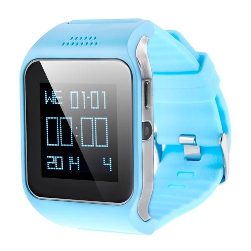 2-em-1 inteligente GSM & celular BT relógio com alarme anti-perdido função Touch Screen 240 * 240 Pixel/rádio/música/câmera/Clock/pedômetro azul