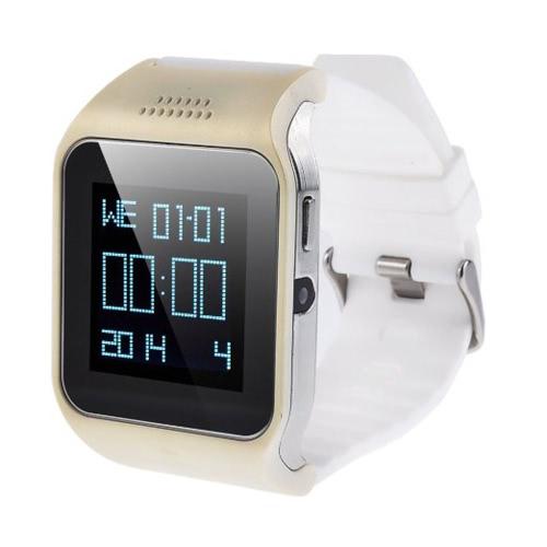 2-em-1 inteligente GSM & celular BT relógio com alarme anti-perdido função Touch Screen 240 * 240 Pixel/rádio/música/câmera/Clock/pedômetro branco