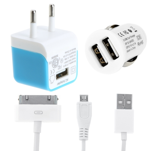 2 USB Car Charger Wall/Travel Charger AC Power Adapter Kit Micro USB 30 Pin Cable for iPhone iPad Samsung Tablet PC Smartphone 5V 2.1A Blue