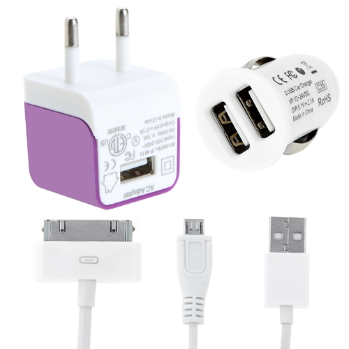 2 USB Car Charger Wall/Travel Charger AC Power Adapter Kit Micro USB 30 Pin Cable for iPhone iPad Samsung Tablet PC Smartphone 5V 2.1A Purple