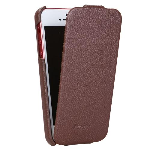 Capa de capa de couro genuíno para iPhone 5