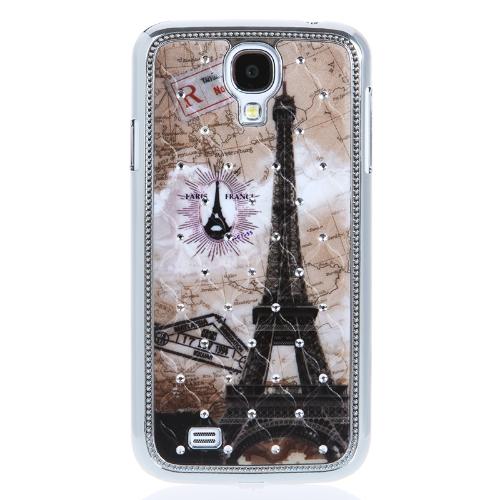 Eiffel Torre padrão Design difícil caso contracapa com strass para Samsung Galaxy S4 i9500/i9505