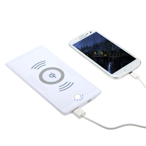 5V 6000mAh de QI sans fil Chargeur émetteur Power Bank pour iPhone Nokia Lumia 920/820 Nexus 4/5 4/4 s Samsung Galaxy S3/Note 2 blanc shuffle MP3