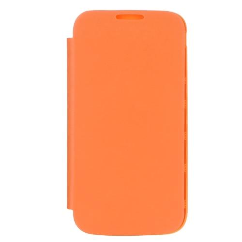 Elegante volta cobrir Flip PU couro habitação caixa de bateria para Samsung Galaxy S4 i9500/i9505 laranja