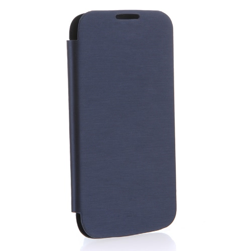 Tampa elegante do Back Flip PU Leather Battery caso de Habitação para Samsung Galaxy S4 i9500 / i9505 azul escuro