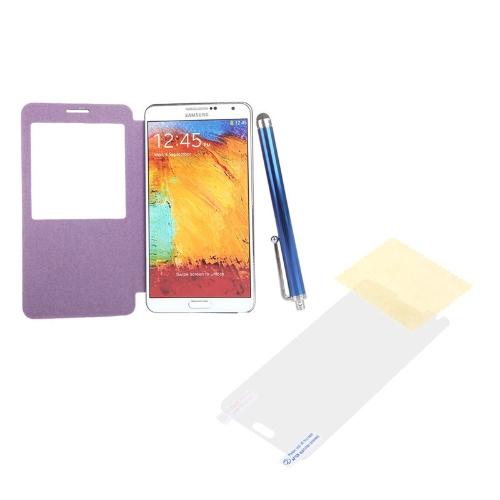 Stylo + Film + Flip PU cuir Smart View batterie d'écran de logement Housse Etui pour Samsung N9000 Galaxy Note3 Purple