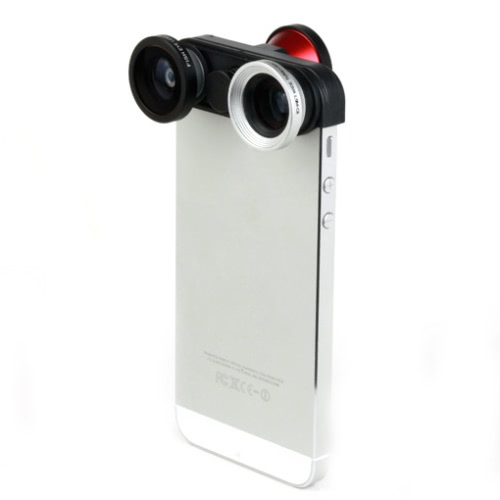 4 in 1 Photo Lens Kit Double Fish Eye Macro Wide Angle Lens for iPhone 5 5S