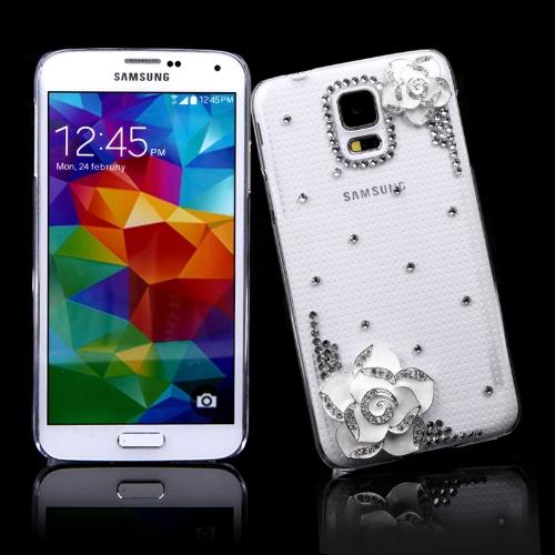 PC Hard volta caso protetor Shell Bling strass cristal de diamante para Samsung Galaxy S5 i9600 branco camélia