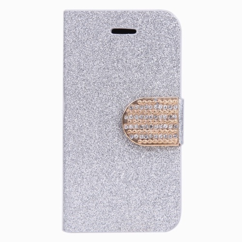 ファッション財布ケース フリップ レザー スタンド カバー iPhone 4 ・ 4 s ・ 4 g シルバー用カード ホルダー付き