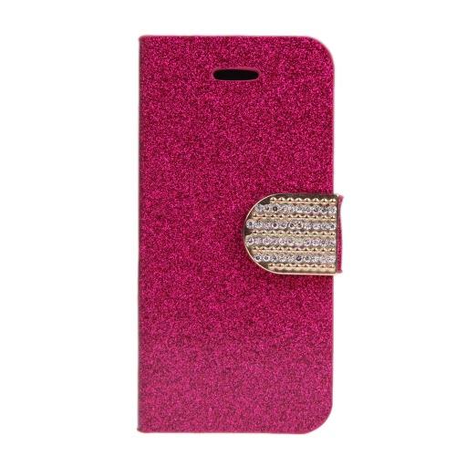 Housse de porte à la mode Flip Housse en cuir avec support de carte pour iPhone 5S 5C 5 Rose