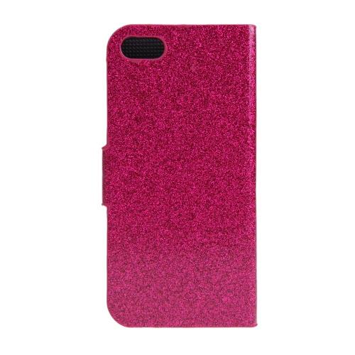 Moda carteira caso Flip Stand tampa de couro com suporte de cartão para 5S iPhone 5 5 Rose