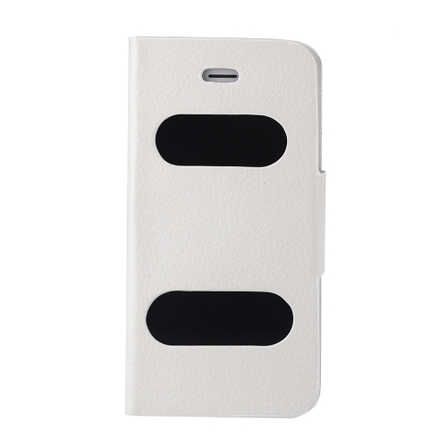 Double View Screen Window Flip Case Cover PU Leather for iPhone 5S 5G 5C Stand Magnetic Clip Pure White
