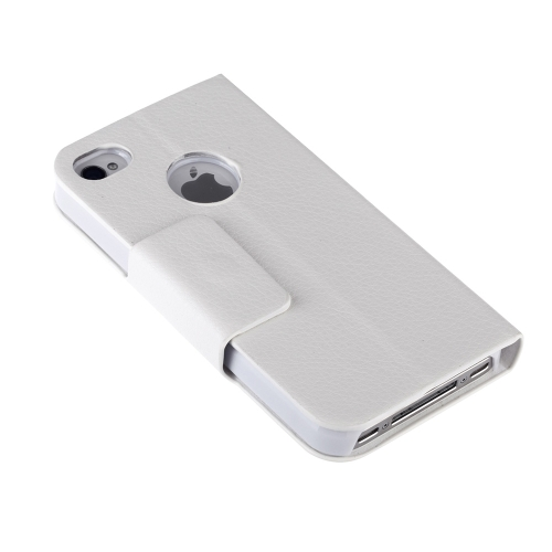 Double View Screen Window Flip Case Cover PU Leather for iPhone 4S 4G Stand Magnetic Clip Pure White