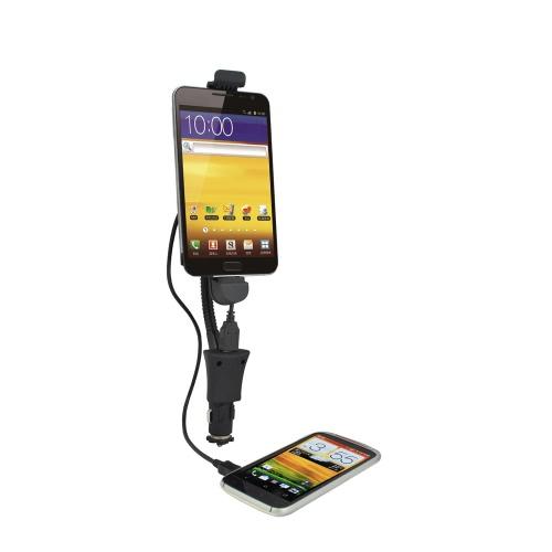 KKmoon Support de téléphone flexible en forme de fume-cigare pour véhicule Support universel kit voiture Cigar plus léger support Stand avec indicateur à LED de Port USB pour téléphone Android 4.3 ~ 6.1
