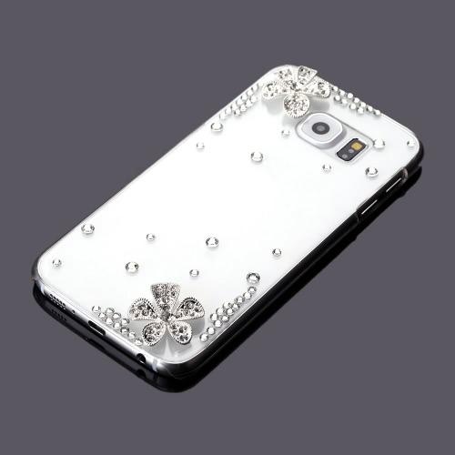 Coque de Téléphone en Diamant, Deux fleurs  pour  Samsung Galaxy S6