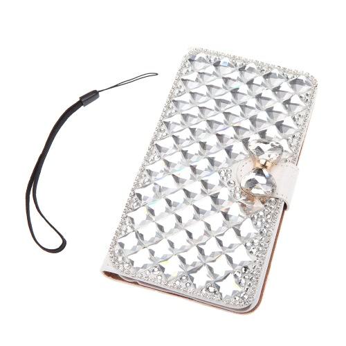 Rivestimento Cassa Protettiva Portafoglio di Giro alla Moda in Cuoio PU Fiocco Diamante artificiale con stringa di supporto di carta per iPhone 6 Plus