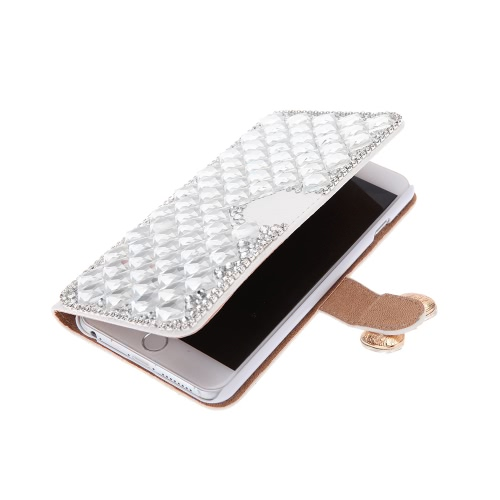 Flip PU Leather Bling Wallet Bowknot Rhinestone Diamond Protective Case Cover