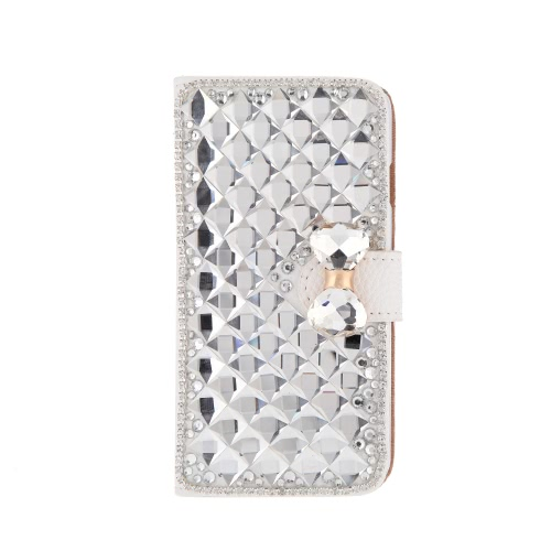 Fashion Flip PU Leather Bling Wallet Bowknot Rhinestone Diamond Protective Case Cover with Card Holder String for iPhone 6 4.7