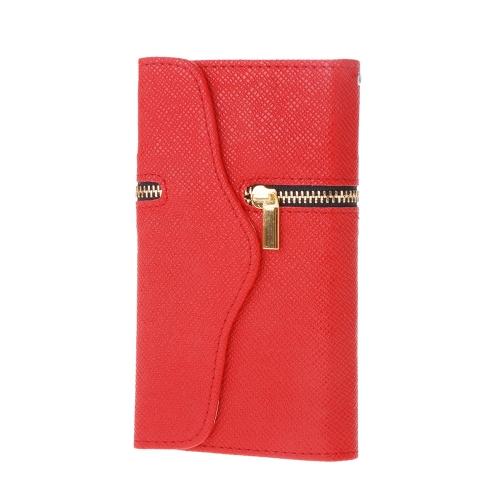 Moda Zipper único aleta PU couro carteira protetora caso capa dura com cartão titular String para Samsung Galaxy S6
