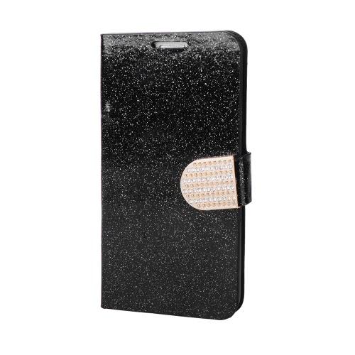 Moda Bling Flip Portfel skórzany PU Pokrowiec ochronna Rhinestone Diamond z diamentowym uchwytem karty dla Samsung Galaxy S6