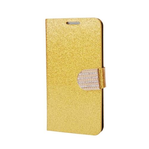 Moda Bling Flip PU couro carteira protetora caso cobre strass diamante com diamante do titular do cartão para Samsung Galaxy S6