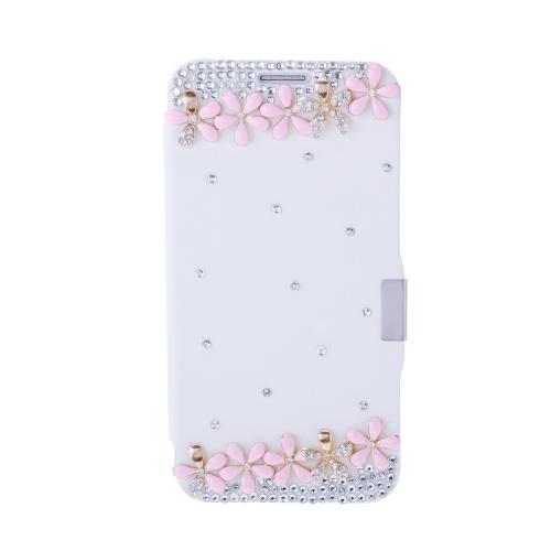 Moda aleta PU couro strass Bling diamante caso tampa protetora para Samsung Galaxy S6