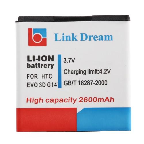 Link sonho 3.7 v 2600mAh Li-ion recarregável substituição da bateria alta capacidade para HTC EVO 3D G14 G18 G21