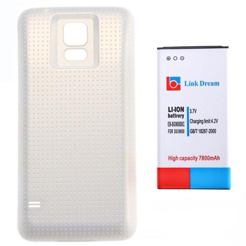 Link sonho 3.7 v 7800mAh recarregável Li-ion bateria alta capacidade substituição com fosco capa traseira para Samsung Galaxy S5 I9600