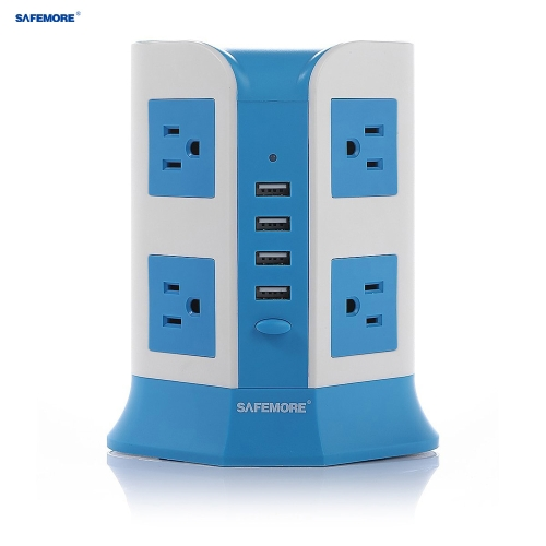 SAFEMORE SM-OL4U8M Smart USB Charging Socket Vertical Extension Power Strip US American Charger 8 Outlets with 4 USB Charging Ports Surge Protector Lightning and Overload Protection for iPhone Samsung Tablets Electronics