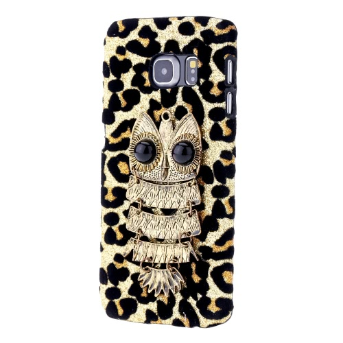 For Galaxy S6 Edge PC Phone Protect Case Luxury Glitter Leopard Print with Special Metal Owl Pattern Design