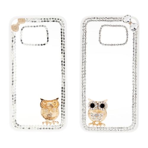 Moda PC telefone proteger caso luxo Bling Bling cristal com especial Metal coruja Design Pattern para Samsung Galaxy S6 borda