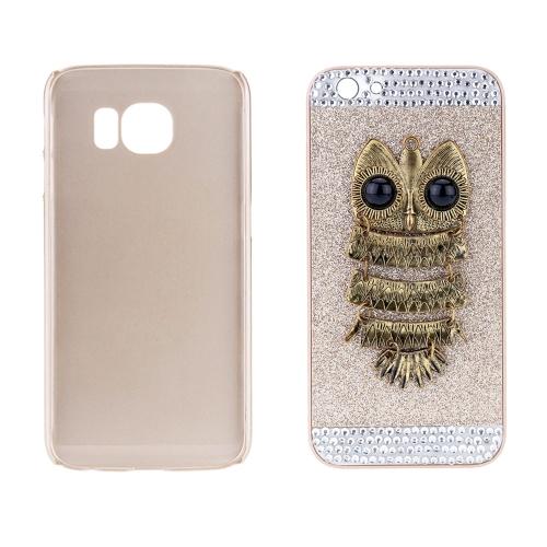 Moda PC telefone proteger caso ouro Giltter luxo cristal com projeto de padrão de coruja de Metal especial para iPhone 6 6S 4,7